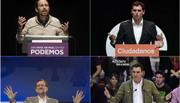 Iglesias, Rivera, Rajoy y Sánchez, candidatos a la presidencia en las elecciones.