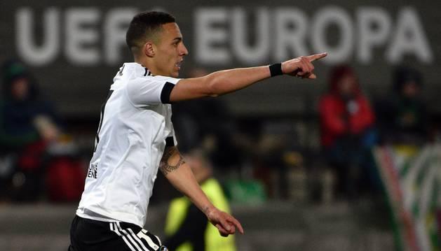 Rodrigo celebra un gol.