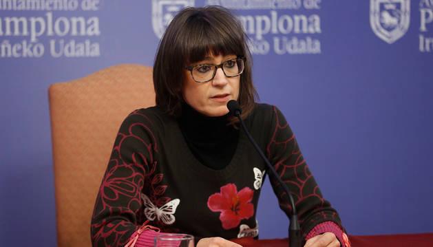 Maider Beloki (Bildu) en la rueda de prensa ofrecida el pasado miércoles.