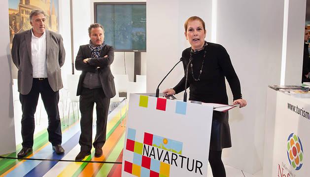 Joseba Asiron, Luis Cortés y Uxue Barkos en la apertura de la 11ª edición de Navartur.