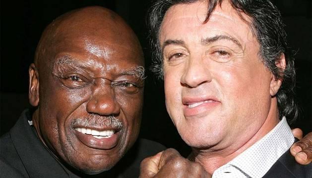 Tony Burton, junto a Sylvester Stallone.