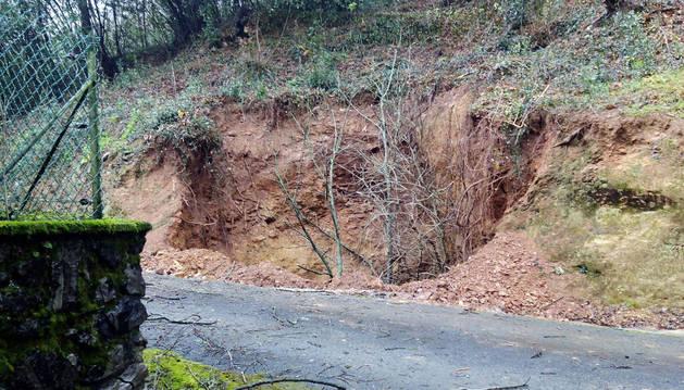 Imagen de la boca del socavón, de la que sobresalen los árboles que han caído en su interior.