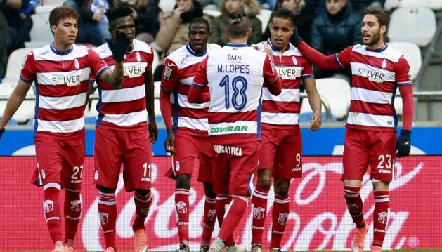 El Granada celebra el gol de El-Arabi.