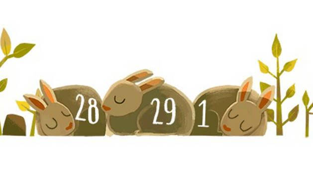 El 'doodle' de Google dedicado al año bisiesto.