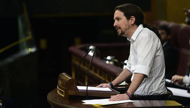 El líder de Podemos, en la tribuna del Congreso.