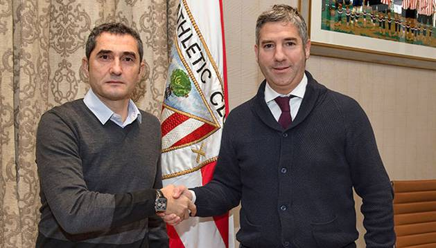 Ernesto Valverde, junto a Josu Urrutia.
