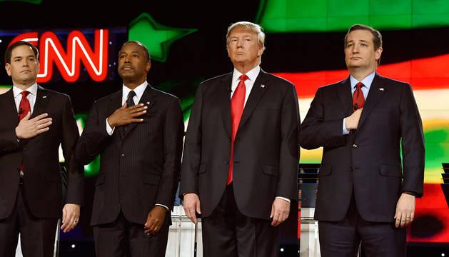 Marco Rubio, Ben Carson, Donald Trump y Ted Cruz.