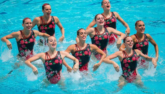 El equipo español de natación sincronizada, en el Preolímpico.
