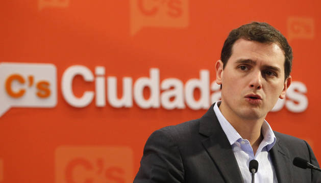 El presidente de Ciudadanos, Albert Rivera, durante la rueda de prensa.