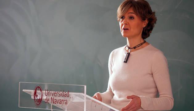 La ministra de Agricultura, durante la conferencia que ha ofrecido este jueves en la UN.
