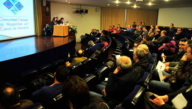 Imagen de la asamblea general de la Comunidad General de Regantes, ayer en Olite.