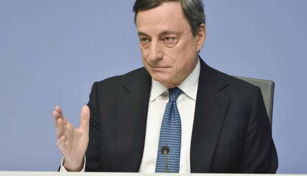 El presidente del BCE, Mario Draghi, durante la rueda de prensa celebrada en Alemania.