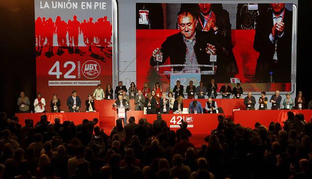 Josep María Álvarez, durante el discurso que ha pronunciado en la clausura del 42 Congreso Confederal de UGT.