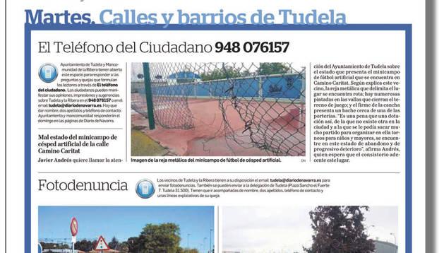 Las secciones 'Calles y barrios de Tudela' y 'La Ribera opina' reforzarán las páginas que componen la edición a lo largo de la semana.