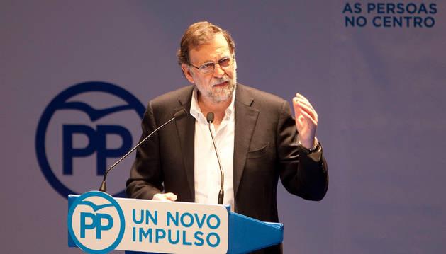 Mariano Rajoy, durante su intervención en el congreso del PP en Pontevedra.