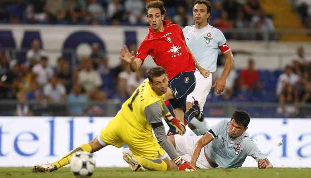 Juanfran, durante el partido contra el Lazio de 2009.
