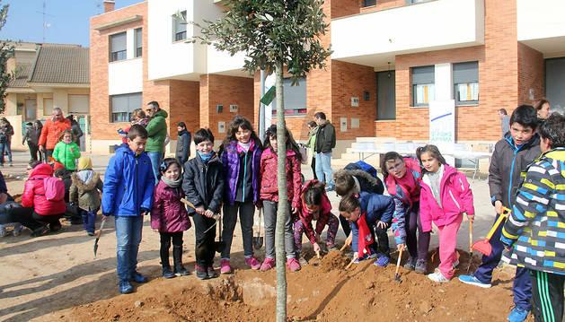 Un grupo de niños posa junto a uno de los árboles plantados en el parque del Gigantón de Cintruénigo.