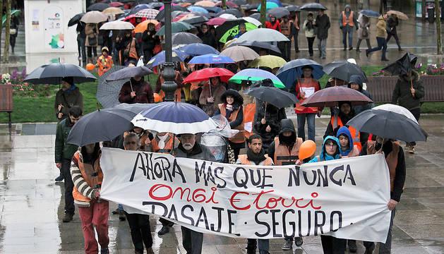 Imagen de una manifestación reciente en Pamplona para apoyar la acogida de los refugiados.