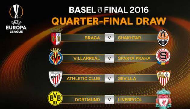 Emparejamientos de los cuartos de la Europa League.