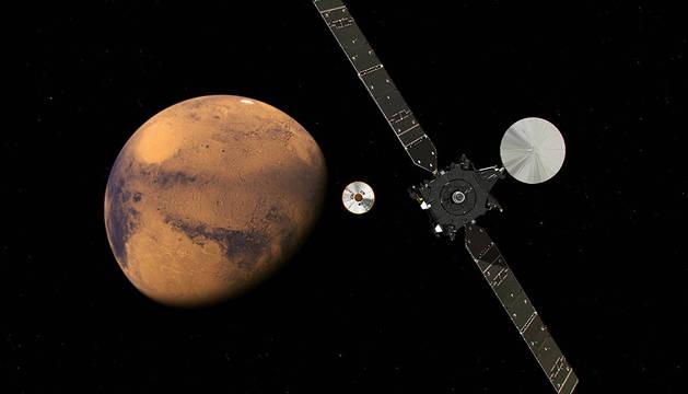 Una recreación artística del orbitador TGO aproximándose a Marte.