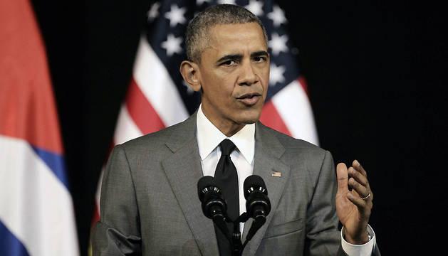 El presidente de Estados Unidos, Barack Obama, ofrece un discurso al pueblo cubano en el Gran Teatro de La Habana.