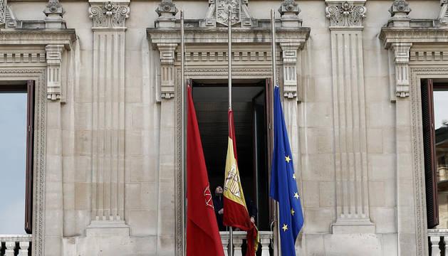 La bandera de la UE, en el Parlamento de Navarra.