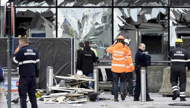 Desperfectos tras los atentados de Bruselas.