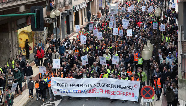 Manifestación contra del cierre de General Electric que se celebró en Tudela el pasado mes de febrero.