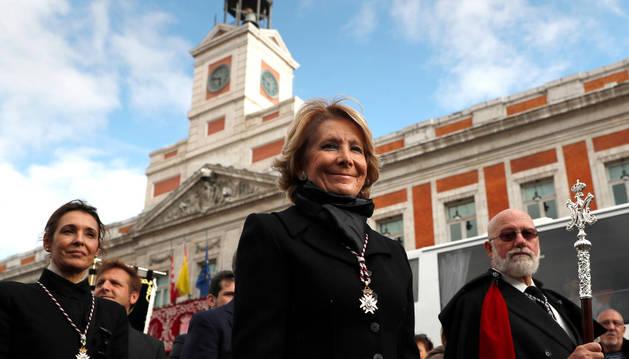 Esperanza Aguirre en la Puerta del Sol.
