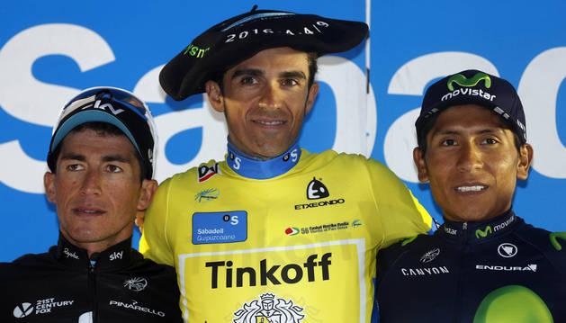 Contador celebra su victoria en la Vuelta al País Vasco.