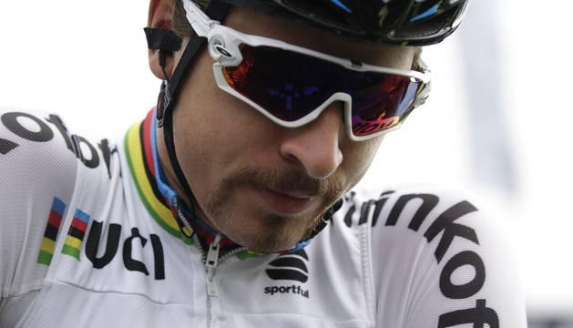 Peter Sagan, con el maillot arcoiris.