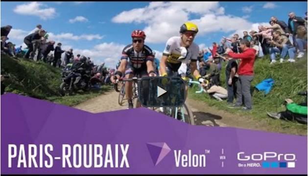 La París-Roubaix, vista desde cámaras instaladas en las bicis de los ciclistas.