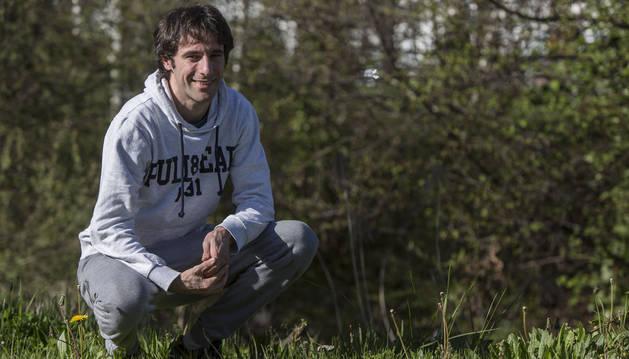 Toni Rodrigo, jugador de la Peña Sport, ayer por la tarde en Cordovilla.