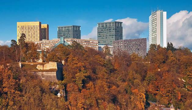 Instituciones europeas en Luxemburgo: Edificios del Tribunal de Cuentas, Tribunal de Justicia, el Banco Europeo de Inversiones y Parlamento Europeo.