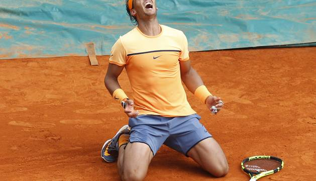 Rafa Nadal celebra su victoria.