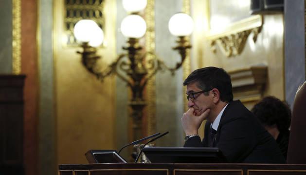 El presidente del Congreso, Patxi López, durante el Pleno que se celebró el martes en el Congreso.