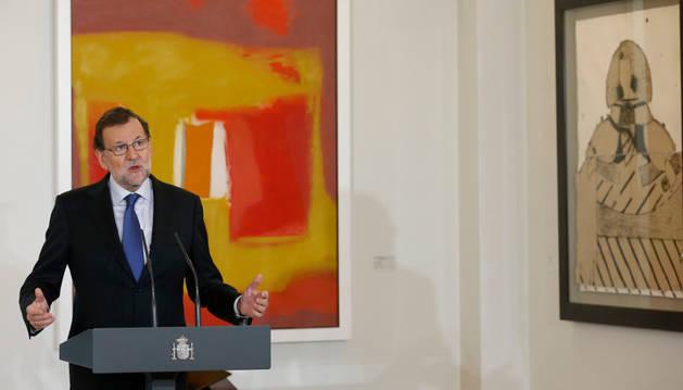 El presidente del Gobierno en funciones, Mariano Rajoy, en el Palacio de la Moncloa.