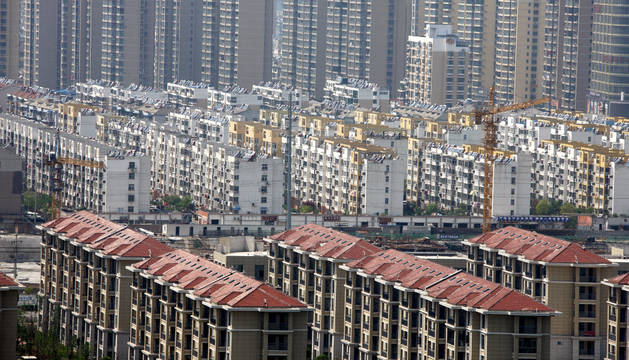Imagen de un barrio chino desde arriba.