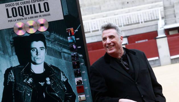 El cantante José María Sanz, alias 'Loquillo', durante la presentación de su nuevo disco.