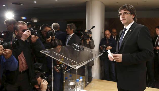Carles Puigdemont, durante la rueda de prensa tras su reunión con Mariano Rajoy.