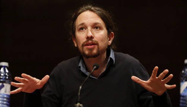 Pablo Iglesias, durante la presentación del libro 'En defensa del populismo', de Carlos Fernández Liria.