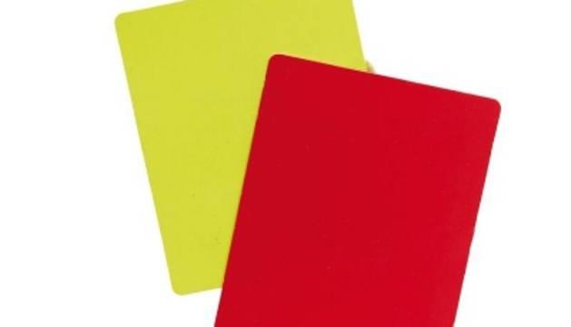 Tarjetas amarilla y roja.