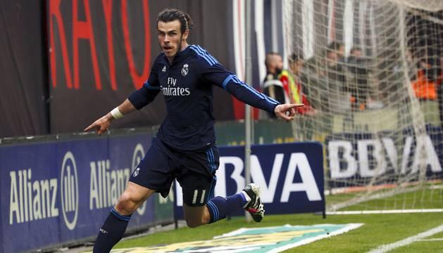 Bale celebra el 2-3 contra el Rayo.