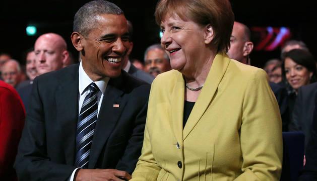 Obama y Merkel, en la feria de la industria de Hannover.