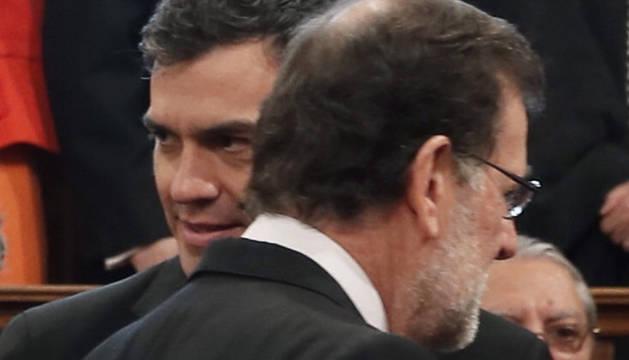 Rajoy y Sánchez, en la entrega del Premio Cervantes.