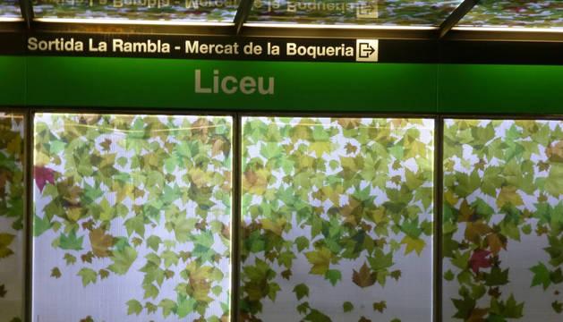 Para del metro de Liceu, en Barcelona.