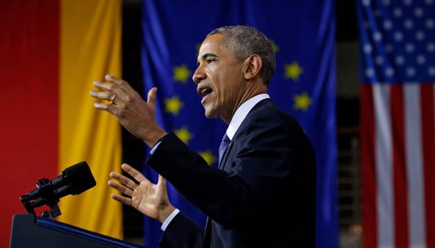Barack Obama, este lunes en Hannover (Alemania).