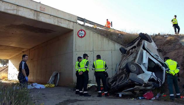 Accidente producido en el kilómetro 12,200 de la vía rápida RM-11 que une Lorca con Aguilas.
