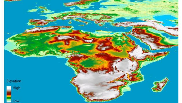 Un fragmento del mapa en tres dimensiones de toda la superficie terrestre más preciso hasta la fecha.