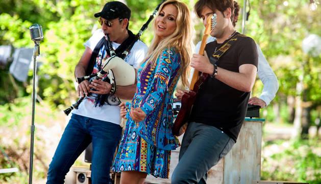 Marta Sánchez, en el primer día de grabación del video.